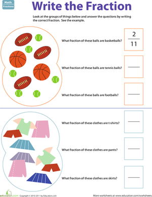 Second Grade Math Worksheets: Find the Fraction