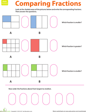 Second Grade Math Worksheets: Fraction Practice: Comparing Fractions