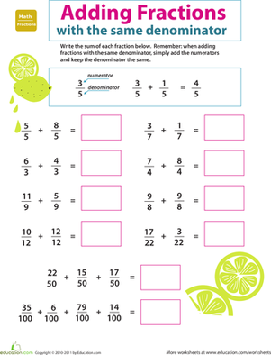 Third Grade Math Worksheets: Introducing Fractions: Adding Fractions