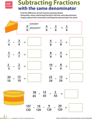 Third Grade Math Worksheets: Introducing Fractions: Subtracting Fractions