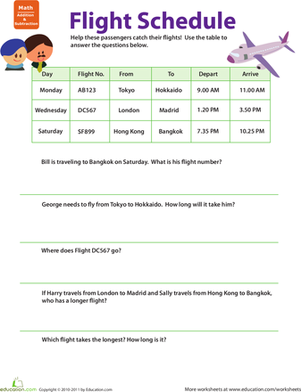 Third Grade Math Worksheets: Planes and Trains: Practicing Schedules #1