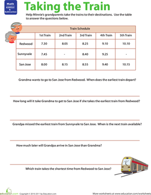 Third Grade Math Worksheets: Planes and Trains: Practicing Schedules #2