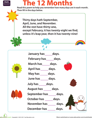 Learn the Days of the Month | Worksheet | Education.com