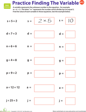 Fourth Grade Math Worksheets: Practice Finding the Variable #2