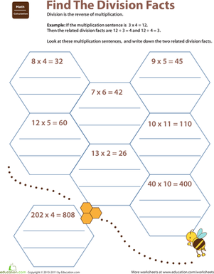 Related Facts Find The Division Facts Worksheet Education Com Visual Division Worksheets Fourth Grade Math Worksheets Related Facts Find The Division Facts