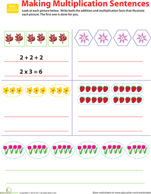 Fourth Grade Math Worksheets: Related Facts: Make Multiplication Sentences