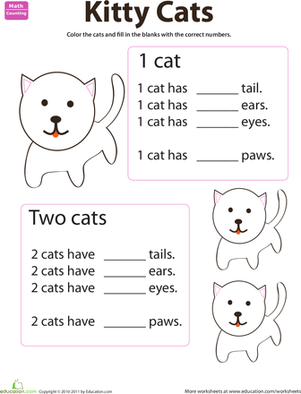 Preschool Math Worksheets: Counting Animals: Cats