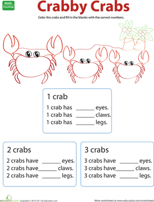 Preschool Coloring Worksheets: Counting Animals: Crabs