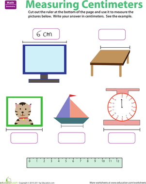 Second Grade Math Worksheets: Ruler Reading: Centimeters