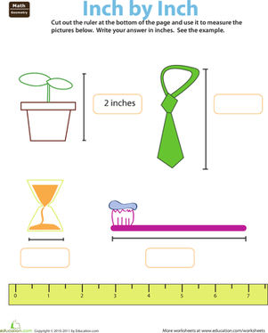 Second Grade Math Worksheets: Ruler Reading: Inches