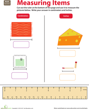 Second Grade Math Worksheets: Ruler Reading: Centimeters and Inches