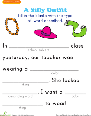 First Grade Reading & Writing Worksheets: Fill-in a Funny Story #2