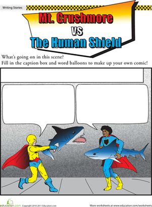 Fifth Grade Reading & Writing Worksheets: Superhero Showdown: Shark Attack!