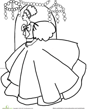 Kindergarten Coloring Worksheets: Princess Coloring Page