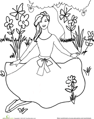 First Grade Coloring Worksheets: Princess Coloring