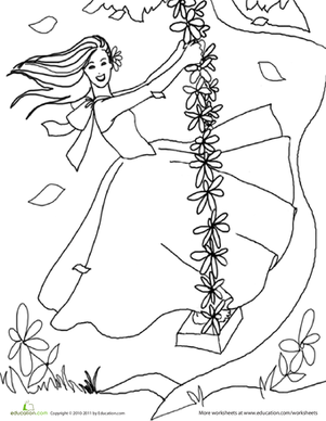 Kindergarten Coloring Worksheets: Color the Pretty Princess: 3