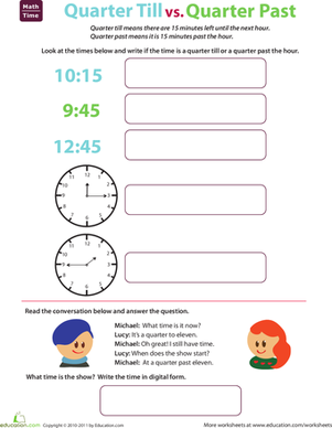 Second Grade Math Worksheets: Telling Time: Quarter Till and Quarter Past