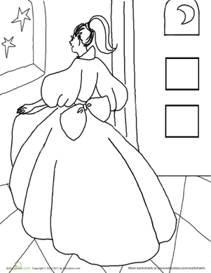 Kindergarten Coloring Worksheets: Color the Pretty Princess: 4