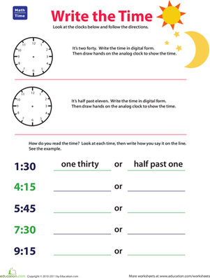 Second Grade Math Worksheets: Expressing Time