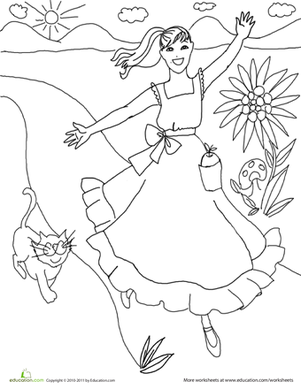 First Grade Coloring Worksheets: Color the Pretty Princess: 6
