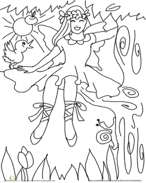 First Grade Coloring Worksheets: Color the Pretty Princess: 8