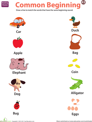 Preschool Reading & Writing Worksheets: Beginning Phonics