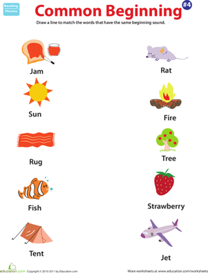 Preschool Reading & Writing Worksheets: Common Beginning Sound: 4