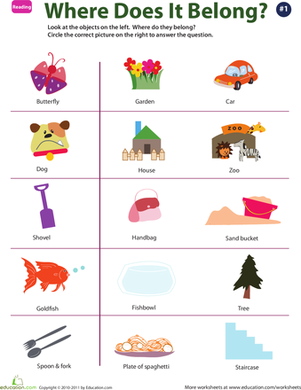 Preschool Reading & Writing Worksheets: Identify Objects