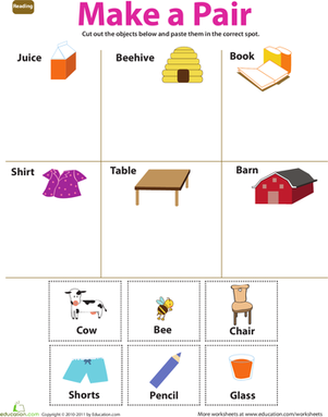Preschool Reading & Writing Worksheets: Make a Pair: 1