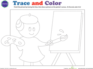 Preschool Reading & Writing Worksheets: Tracing Practice: Trace the Painter