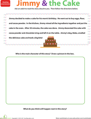Preschool Holidays & Seasons Worksheets: Reading Comprehension Practice: Jimmy and the Cake