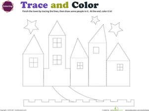 Preschool Reading & Writing Worksheets: Trace and Color the City