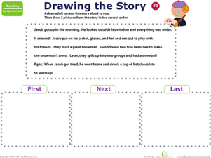 Preschool Reading & Writing Worksheets: Story Sequencing: Jacob's Day