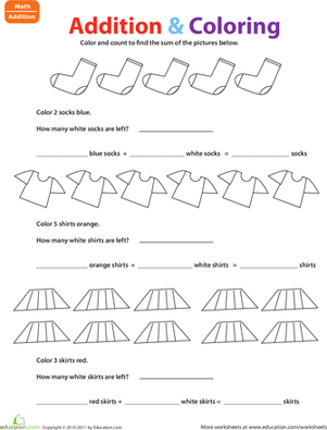 Kindergarten Math Worksheets: Color & Add