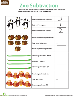Easy Animal Subtraction #2