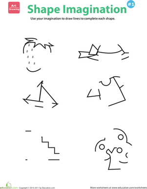 Kindergarten Math Worksheets: Picture Imagination #1