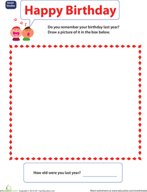 Preschool Holidays & Seasons Worksheets: Improving Memory: Birthday