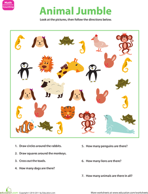 Kindergarten Math Worksheets: Sorting Animals
