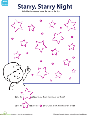 Kindergarten Math Worksheets: Color & Count: Starry Night