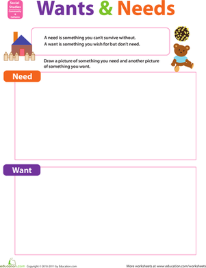 Preschool Social studies Worksheets: Wants and Needs