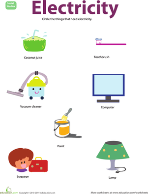 Preschool Science Worksheets: Things that Use Electricity