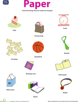 Preschool Science Worksheets: Resource: Paper
