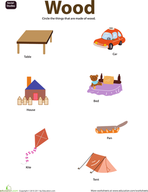 Preschool Science Worksheets: Things Made of Wood