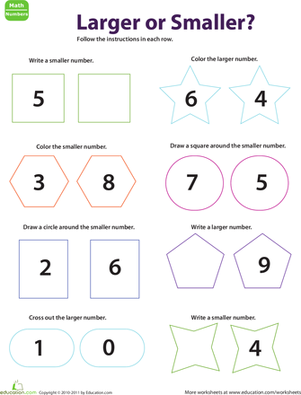 Kindergarten Math Worksheets: Numbers Large and Small: Shapes