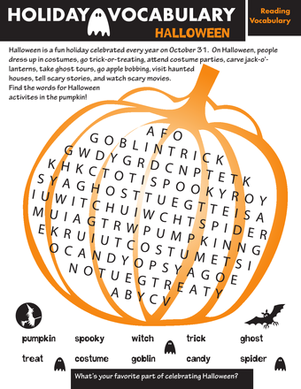Second Grade Reading & Writing Worksheets: Holiday Word Search: Halloween