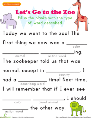 First Grade Reading & Writing Worksheets: Fill-in a Funny Story #4