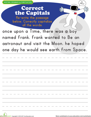 First Grade Reading & Writing Worksheets: Capitalization Practice: Space Age