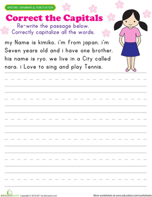 First Grade Reading & Writing Worksheets: Capitalization Practice: Kimiko