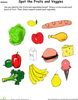 Kindergarten Science Worksheets: Find the Fruit and Veggies