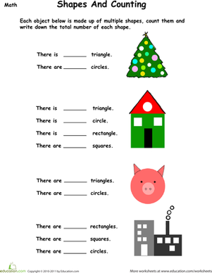 Preschool Math Worksheets: Count the Simple Shapes
